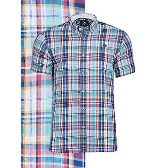 Short Sleeve Slub Check Shirt - Navy