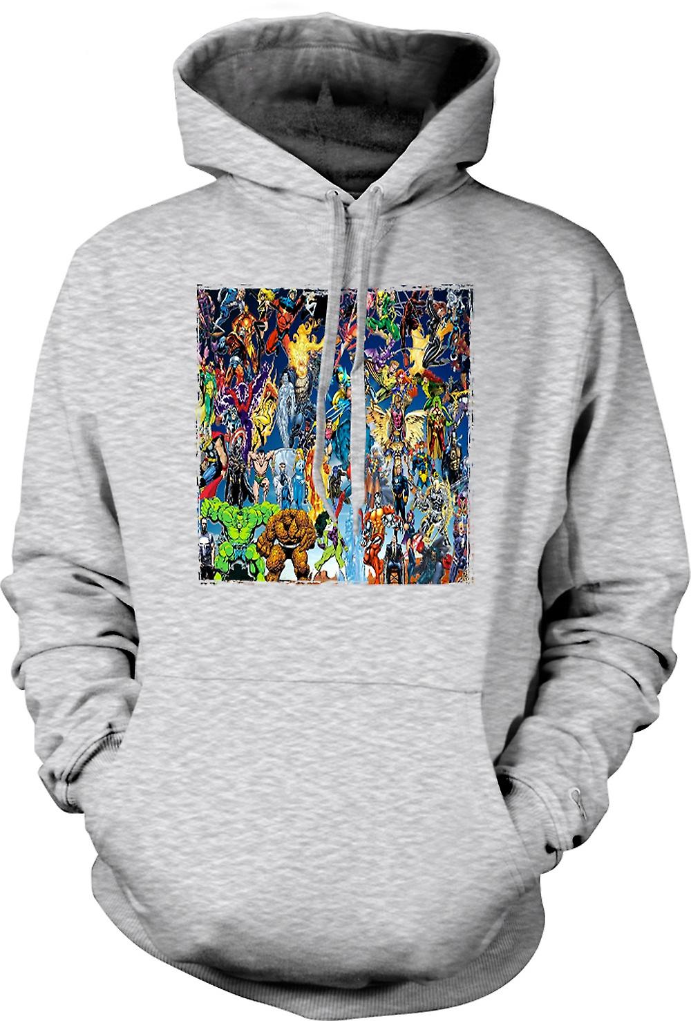 Mens Hoodie - Marvel Comic Super Hero - Collage