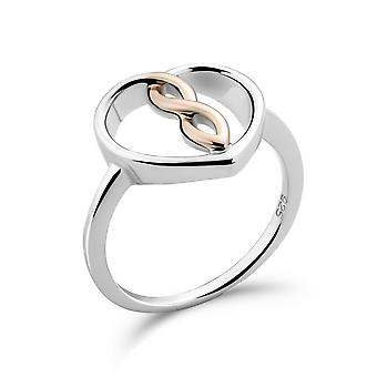 Orphelia 925 Silver Ring White/Rose Heart