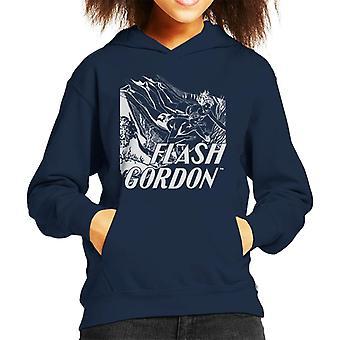 Flash Gordon Diving Sketch Kid's Hooded Sweatshirt