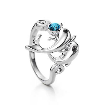 14K White Gold Plated Swarovski Elements Dolphin Ring