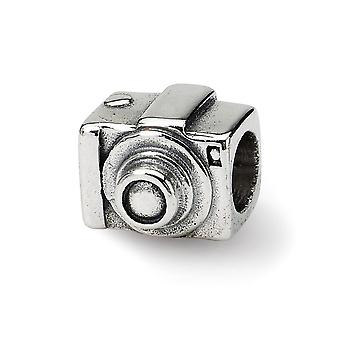 925 Sterling Silver Polished Antique finish Reflections SimStars Camera Bead Charm