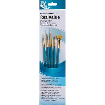 Real Value Brush Set Synthetic Gold Taklon Round 3 0,3,Liner 20 0,Fan 12 0,Ang 0 P9170