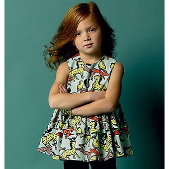 Children's Girls' Top, Tunic Dress, Belt And Leggings  2  3  4  5 Pattern B5877  Cdd