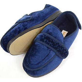 Mesdames / Womens orthopédiques / EEE Velcro Wide Fit Slipper Boot / chaussons - Navy - UK 5