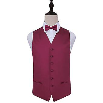 Plain Burgundy Satin Wedding Waistcoat & Bow Tie Set