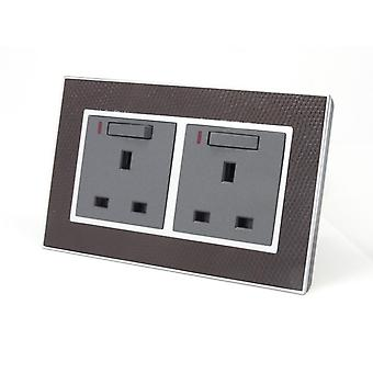 I LumoS AS Luxury Goat Skin Leather Double Switched with Neon Wall Plug 13A UK Sockets