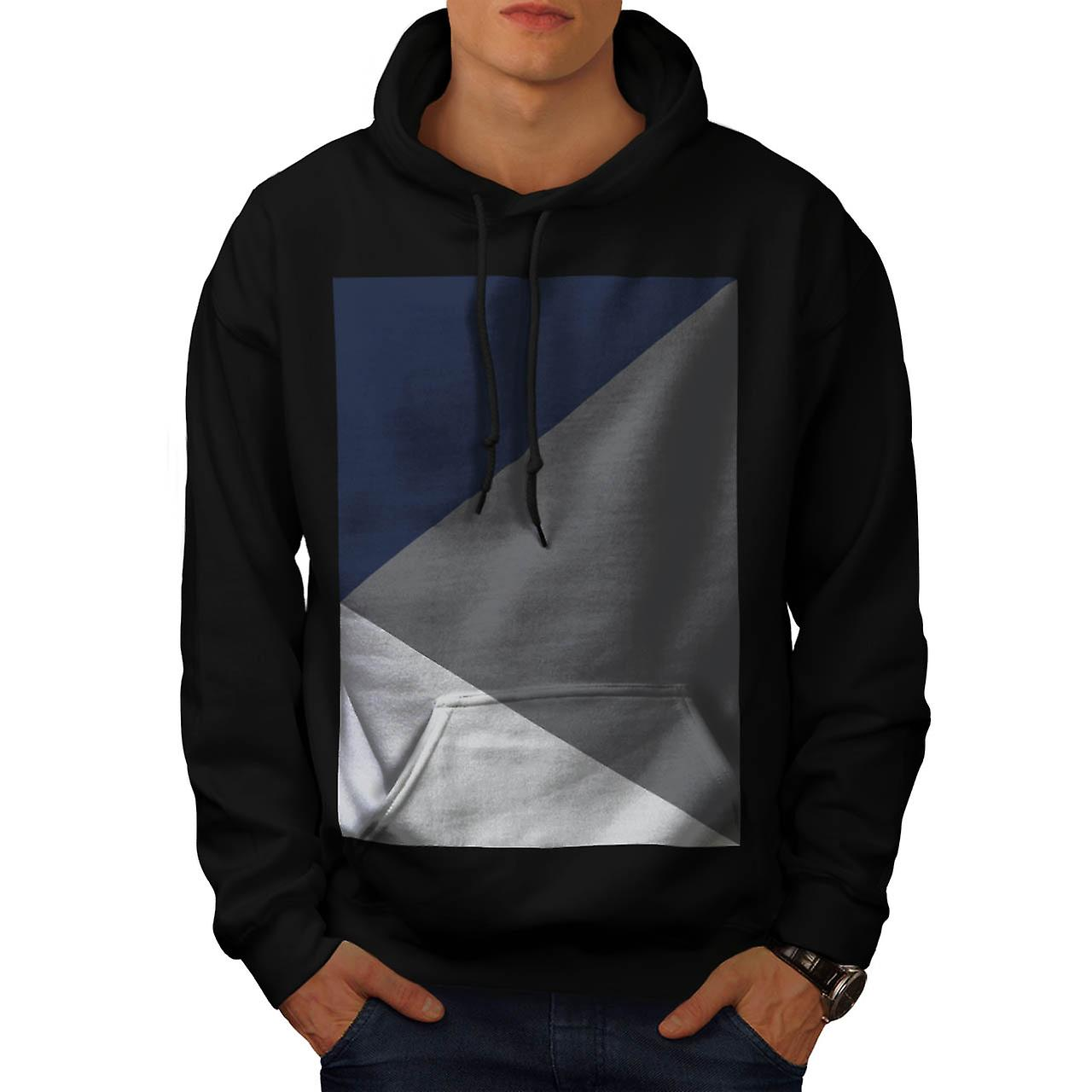 Grey Triangle Shape Three Tier Men Black Hoodie | Wellcoda