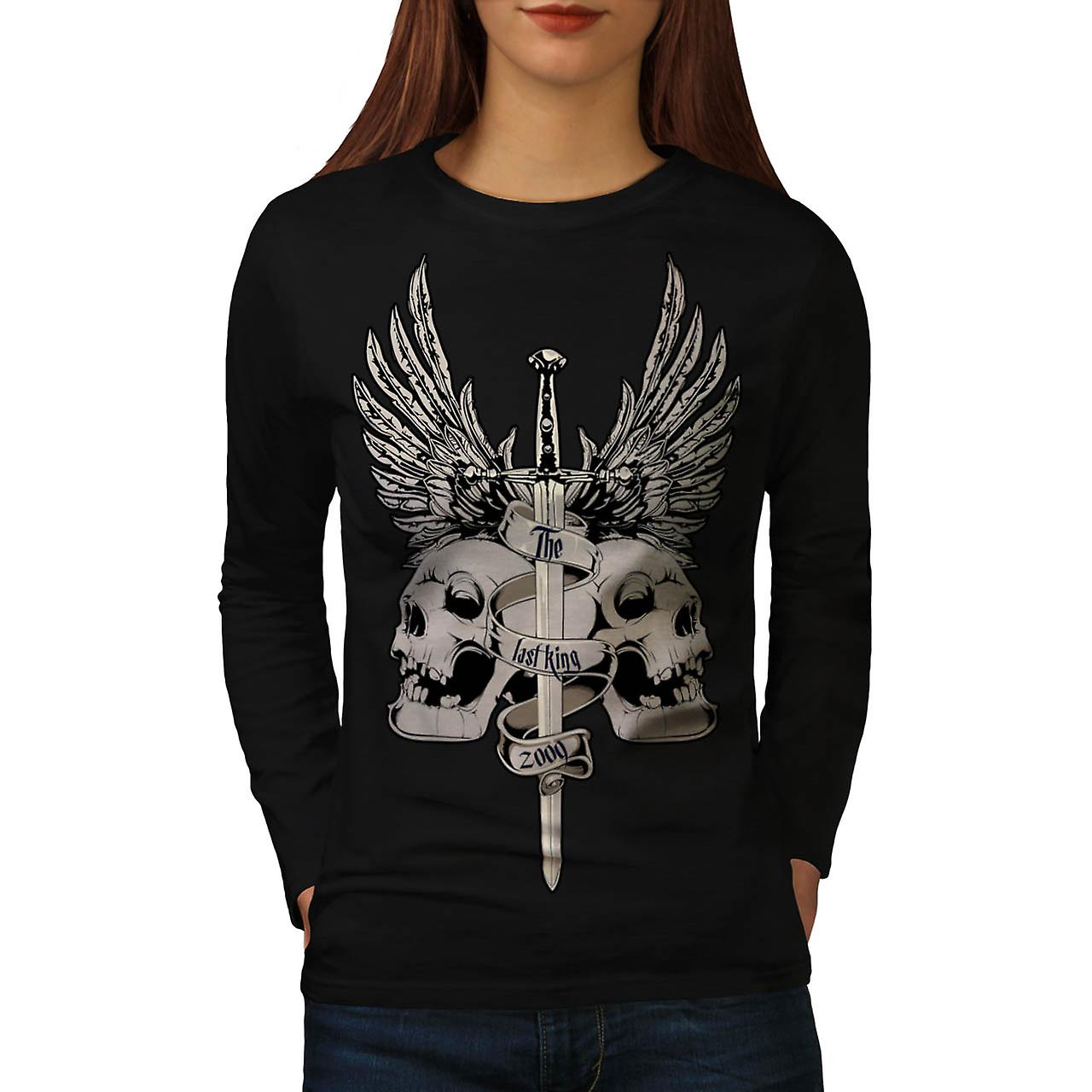 The Last King Leader Skull Rule Women Black Long Sleeve T-shirt | Wellcoda