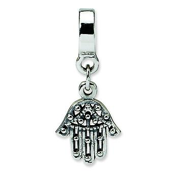 Sterling Silver Polished Antique finish Reflections Chamseh Dangle Bead Charm