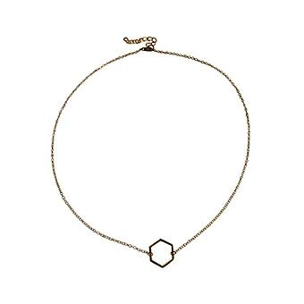 Gold-colored minimalistic chic statement necklace with Hexagon