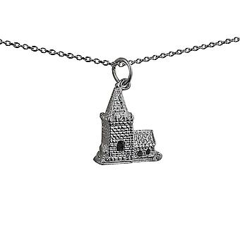 Silver 19x15mm moveable Charm a Church inside a tiny Bride and Groom with a rolo Chain 14 inches Only Suitable for Children