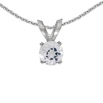 14k White Gold Round White Topaz Pendant with 18