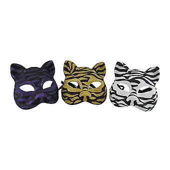 Set of 3 Sparkling Animal Stripe Gotto Carnivale Cat Masks