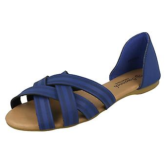 Ladies Savannah Flat X Strap Sandals F00059
