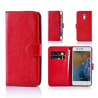 32nd Book Leather Wallet Case + stylus for Nokia 3 (2017) - Red