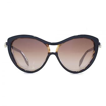 Alexander McQueen Iconic Skull Cateye Sunglasses In Black On Havana