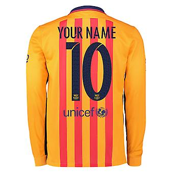 2015-2016 Barcelona Long Sleeve Away Shirt (Your Name)