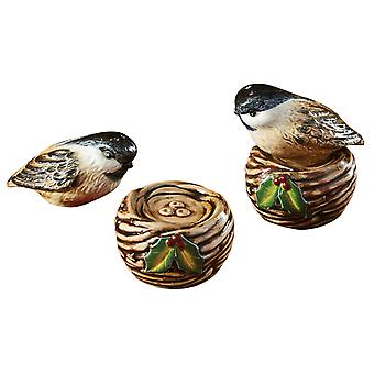 Winter Bird on Nest Stacking Salt and Pepper Shaker Set Ceramic