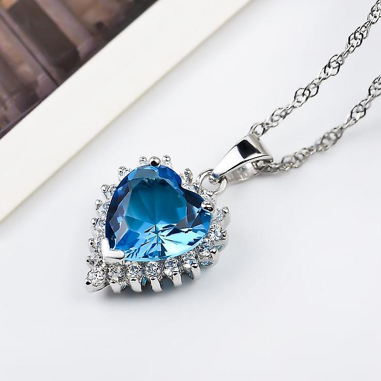 Affici Sterling Silver Pendant with Chain 18ct White Gold Plated ~ Heart Cut London Blue Topaz CZ Gem
