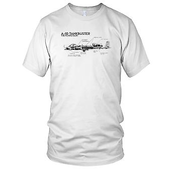 USAF A 10 Tankbuster Flying Gun Schematic Ladies T Shirt