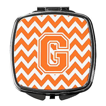 Letter G Chevron Orange and White Compact Mirror