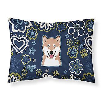 Blue Flowers Shiba Inu Fabric Standard Pillowcase