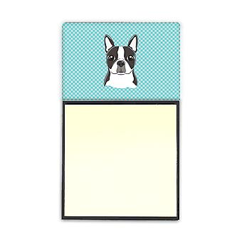 Checkerboard Blue Boston Terrier Refiillable Sticky Note Holder or Postit Note D