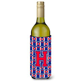 Letter H Football Crimson and Yale Blue Wine Bottle Beverage Insulator Hugger