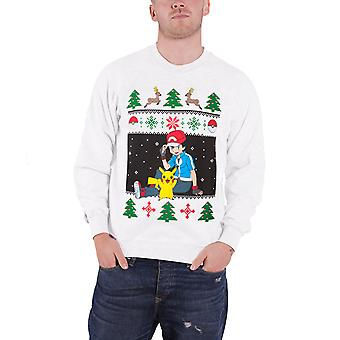 Pokemon Christmas Jumper Sweatshirt Ash Pikachu Christmas Official Mens White