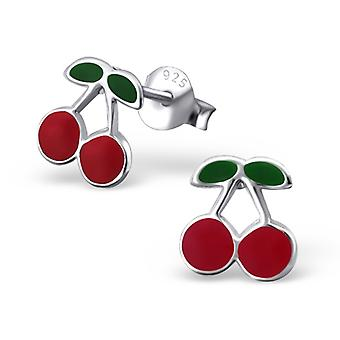 Cherry - 925 Sterling Silver Colourful Ear Studs