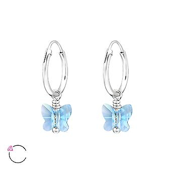 Mariposa de cristal de Swarovski® - pendientes de plata esterlina 925