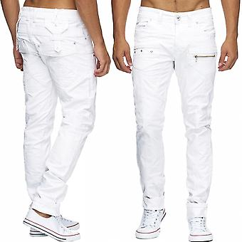 Men long jeans pants biker look white denim zip rivets new men top quality