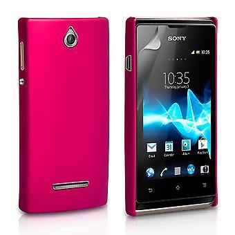 Yousave tillbehör Sony Xperia E hård Hybrid Case - Hot Pink
