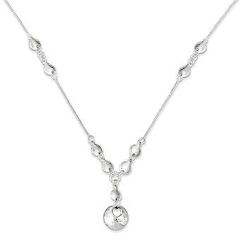 Sterling Silver 18 Inch Polished & Textured Fancy Round Drop Necklace