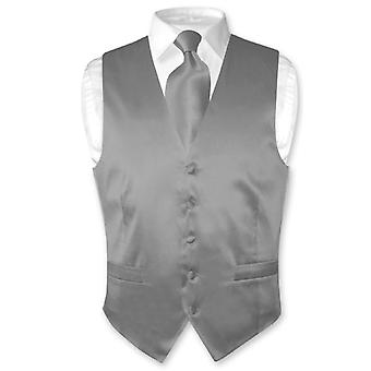 Biagio Men's SILK Dress Vest & NeckTie Solid Neck Tie Set