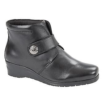 Ladies Womens New Soft Leather Touch Fastening Wedge Ankle Boots Shoes