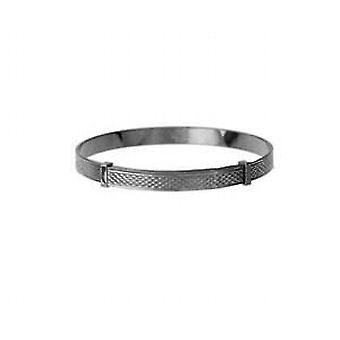 Silver 40mm diameter expanding baby Bangle with engine turned pattern