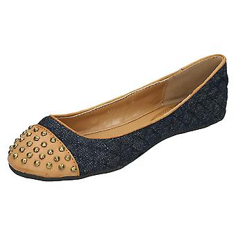 Ladies Anne Michelle Flat Ballerina Shoe - Dark Demin Blue Textile/Synthetic - UK Size 4 - EU Size 37 - US Size 6