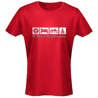Comer dormir bebe Navidad Navidad para mujer camiseta 8 colores (8-20) por swagwear