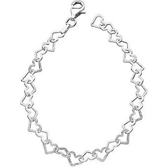 Beginnings Diamond Cut Heart Bracelet - Silver