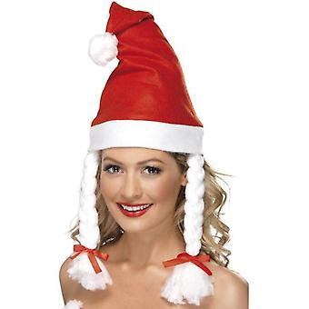 Smiffys Santa Hat Red With Plaits (Babies and Children , Costumes)