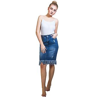 Denim Skirt with Fringe Knee-length distressed Jean Skirt