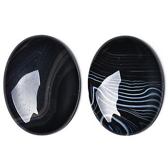 1 x Black Banded Agate Flat Back 18 x 25mm Oval 6.5mm Thick Cabochon CA17406-3
