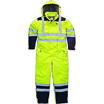 Dickies Mens arbetskläder vattentät Hej Vis säkerhet overall gul Navy