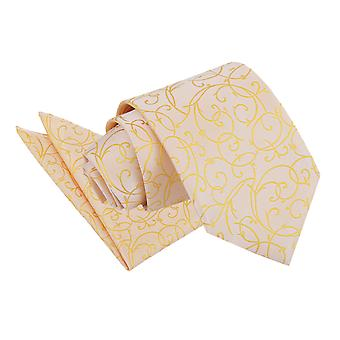 Krawatte Gold Wirbel & Einstecktuch Satz