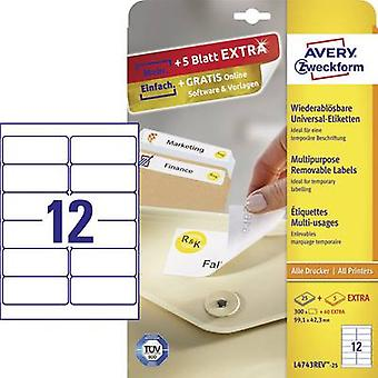 Avery-Zweckform L4743REV-25 Labels 99.1 x 42.3 mm Paper White 360 pc(s) Removable All-purpose labels Inkjet, Laser, Copi