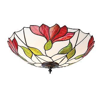 Interiors 1900 Botanica 2 Bulb Flush Red Flower Tiffany Ceiling Plate
