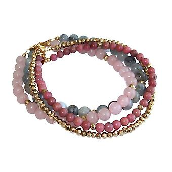 Bracelet set gemstone bracelet aquamarine Rose Quartz, rhodonite pyrite bracelet set