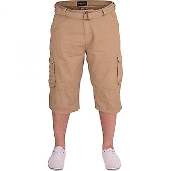 52_DNM Mens High Quality Long Cotton Cargo Combat 3/4 Length Shorts Outdoor Casual Short Pockets